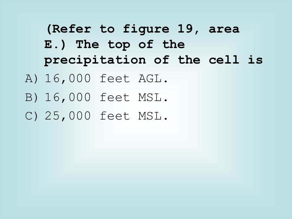 (Refer to figure 19, area E.) The top of the precipitation of the cell is