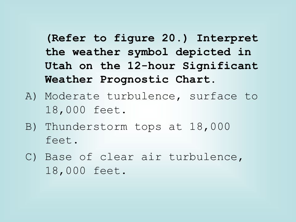 (Refer to figure 20.) Interpret the weather symbol depicted in Utah on the 12-hour Significant Weather Prognostic Chart.