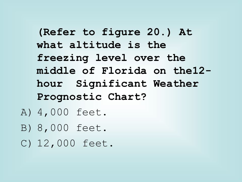 (Refer to figure 20.) At what altitude is the freezing level over the middle of Florida on the12-hour Significant Weather Prognostic Chart