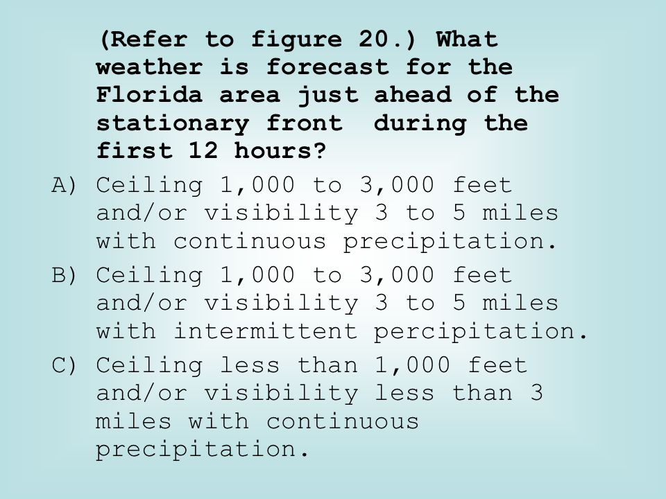 (Refer to figure 20.) What weather is forecast for the Florida area just ahead of the stationary front during the first 12 hours