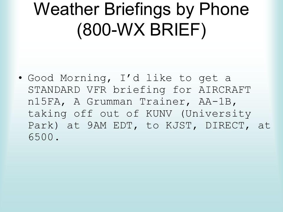 Weather Briefings by Phone (800-WX BRIEF)