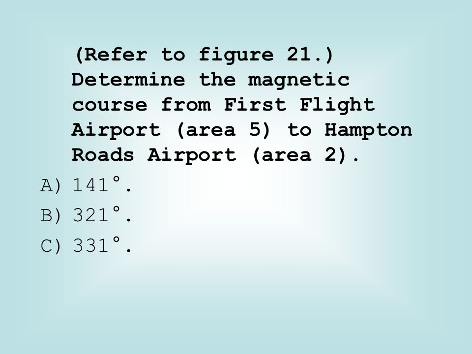 (Refer to figure 21.) Determine the magnetic course from First Flight Airport (area 5) to Hampton Roads Airport (area 2).