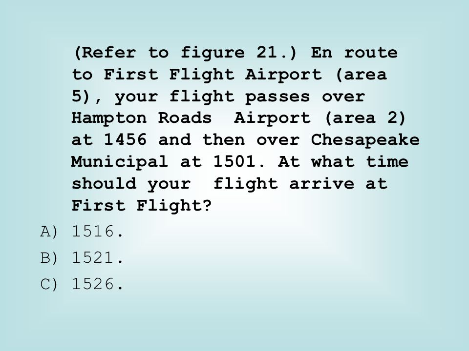 (Refer to figure 21.) En route to First Flight Airport (area 5), your flight passes over Hampton Roads Airport (area 2) at 1456 and then over Chesapeake Municipal at 1501. At what time should your flight arrive at First Flight