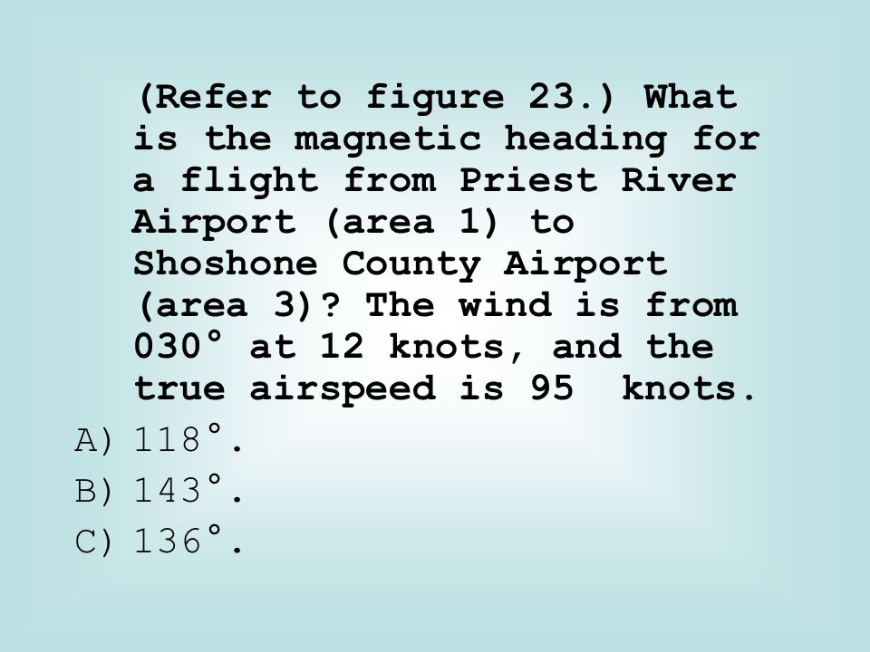 (Refer to figure 23.) What is the magnetic heading for a flight from Priest River Airport (area 1) to Shoshone County Airport (area 3) The wind is from 030° at 12 knots, and the true airspeed is 95 knots.
