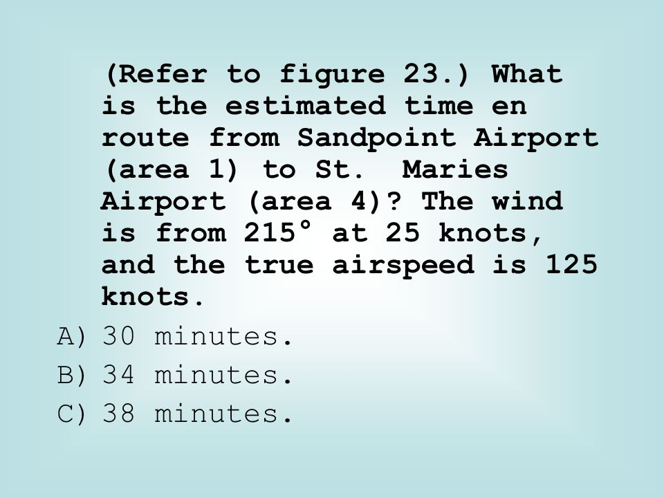 (Refer to figure 23.) What is the estimated time en route from Sandpoint Airport (area 1) to St. Maries Airport (area 4) The wind is from 215° at 25 knots, and the true airspeed is 125 knots.
