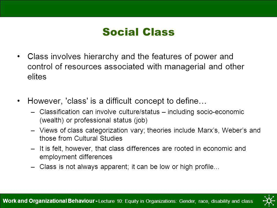 Social Class Class involves hierarchy and the features of power and control of resources associated with managerial and other elites.