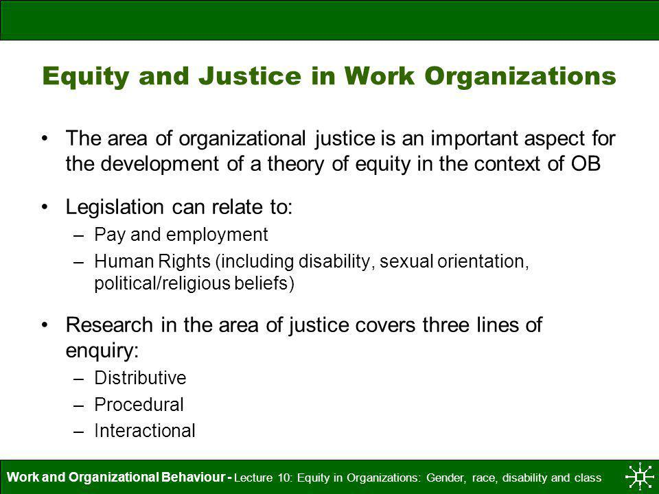 Equity and Justice in Work Organizations