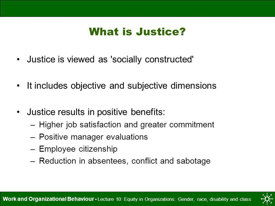 What is Justice Justice is viewed as socially constructed