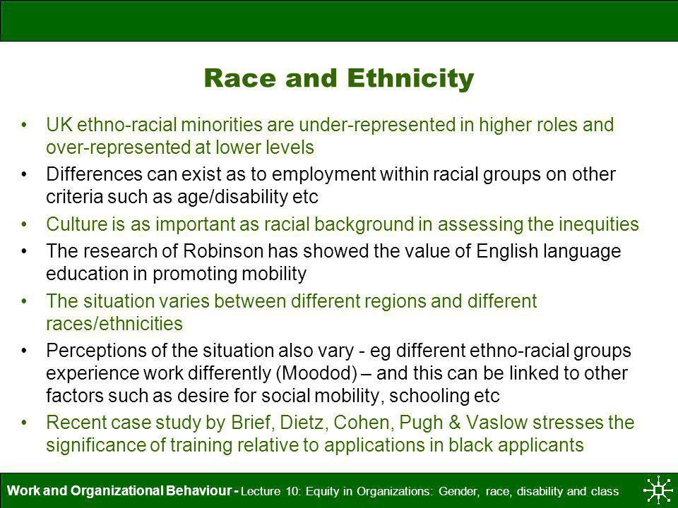 Race and Ethnicity UK ethno-racial minorities are under-represented in higher roles and over-represented at lower levels.