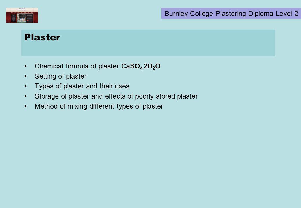 Plaster Chemical formula of plaster CaSO4 2H2O Setting of plaster