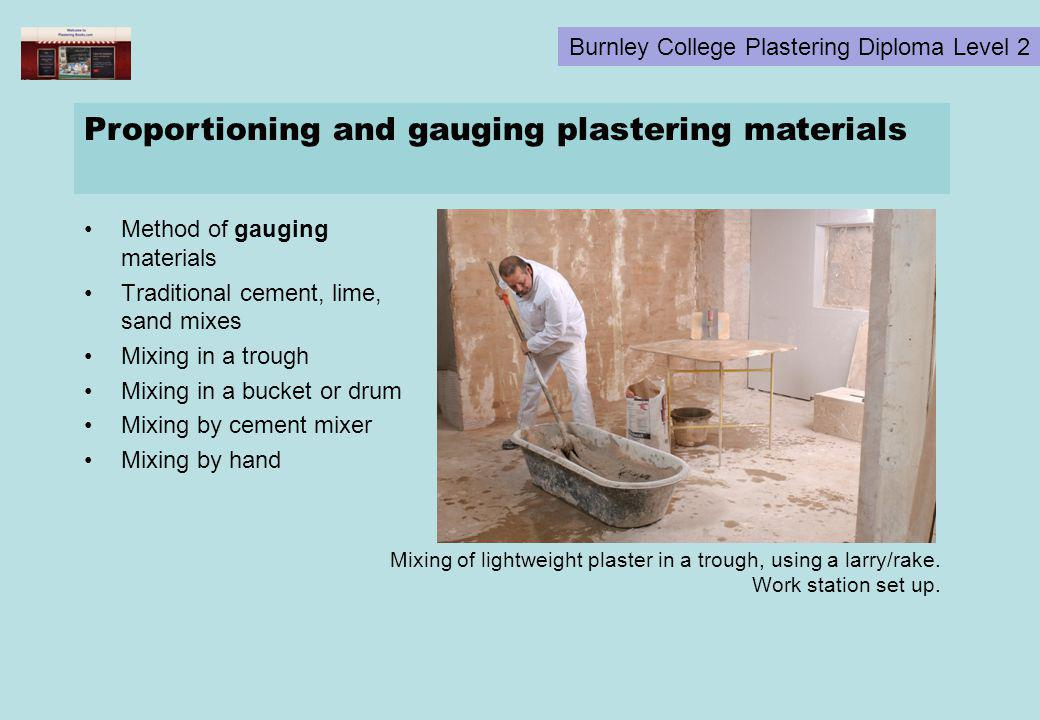 Proportioning and gauging plastering materials
