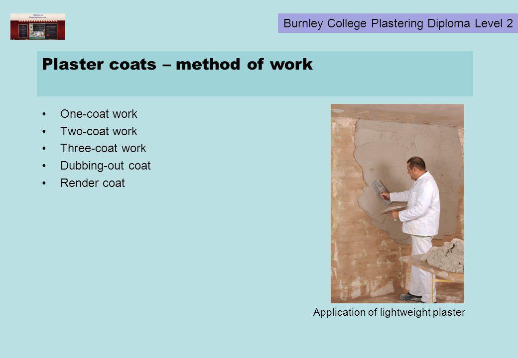 Plaster coats – method of work