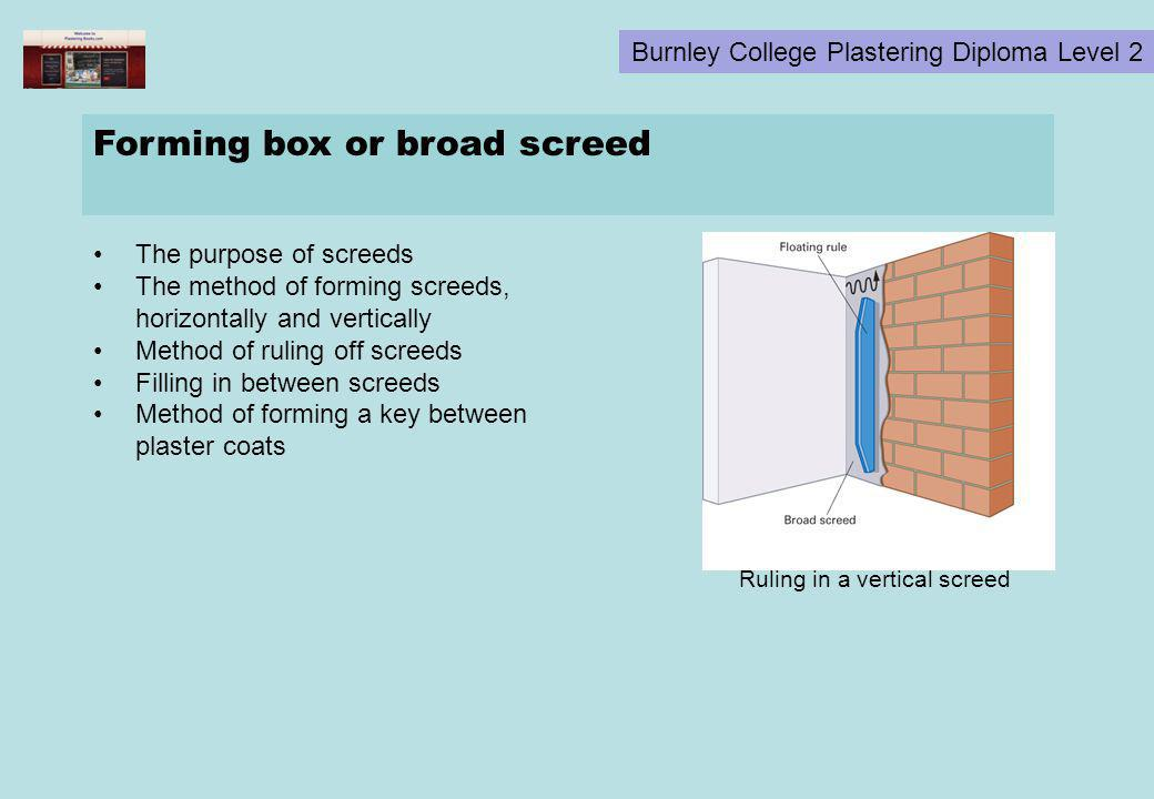 Forming box or broad screed
