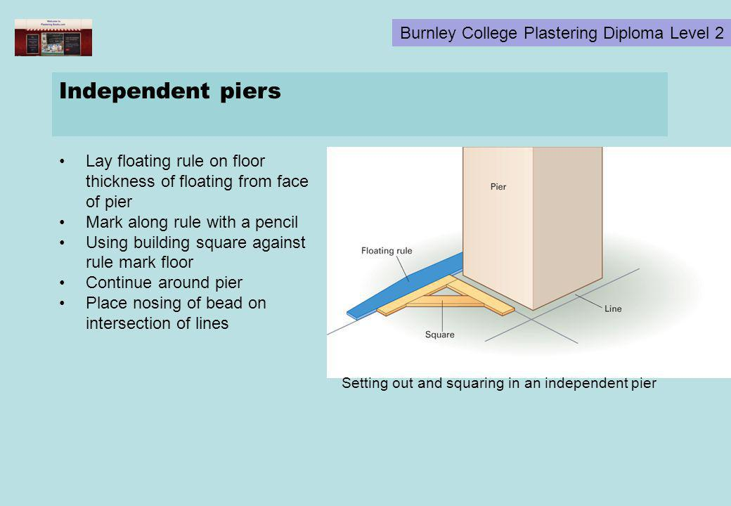 Independent piers Lay floating rule on floor thickness of floating from face of pier. Mark along rule with a pencil.