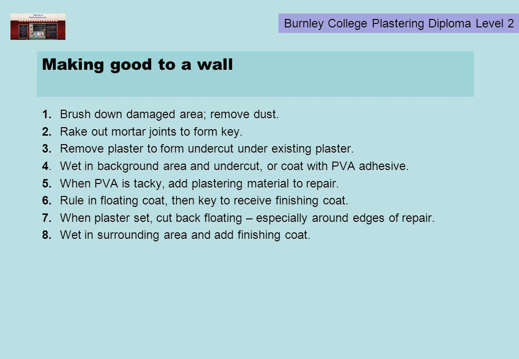 Making good to a wall 1. Brush down damaged area; remove dust.