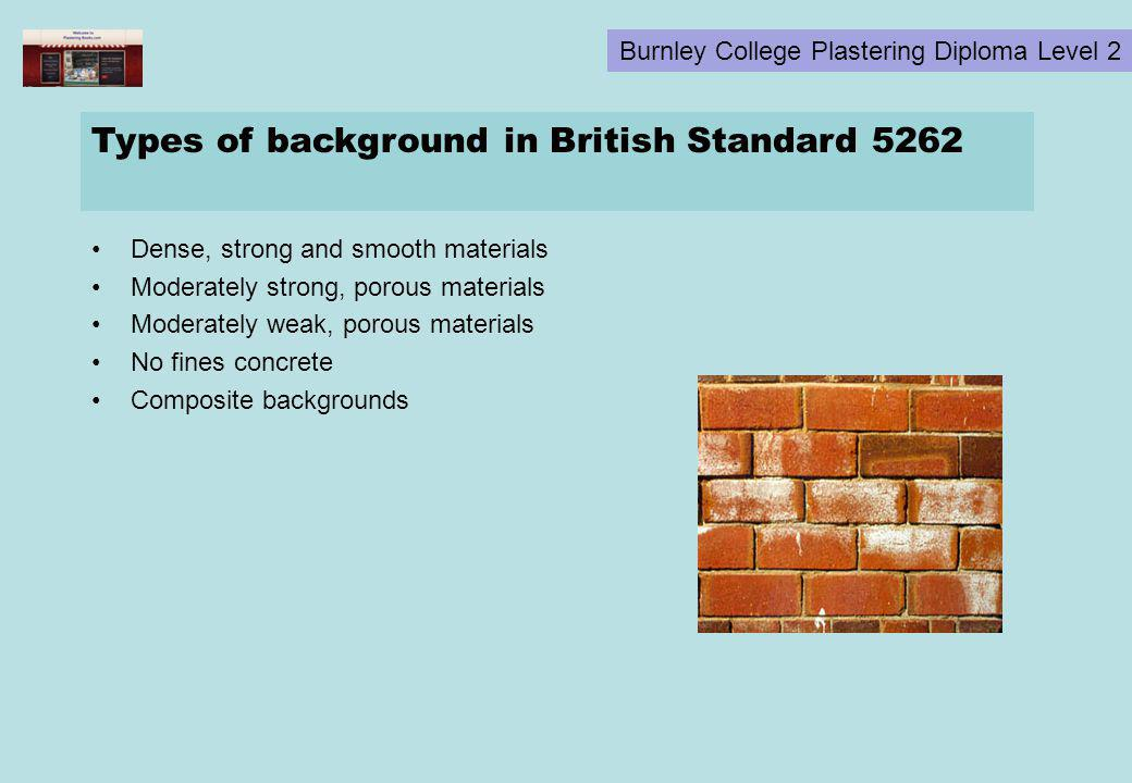 Types of background in British Standard 5262