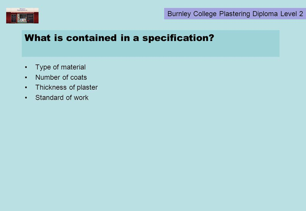 What is contained in a specification