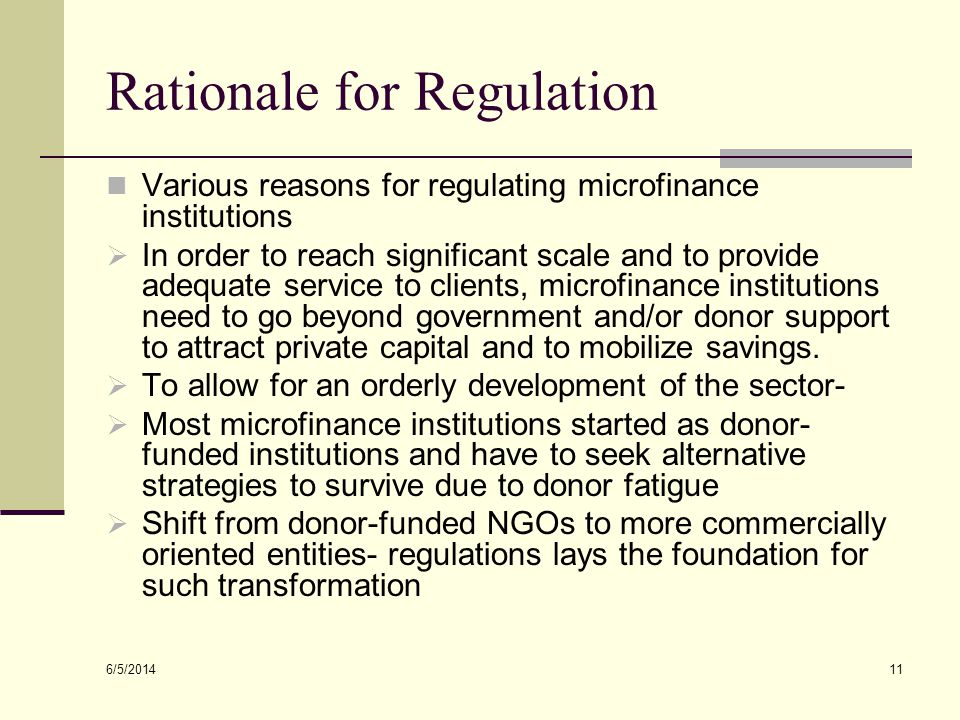 Rationale for Regulation