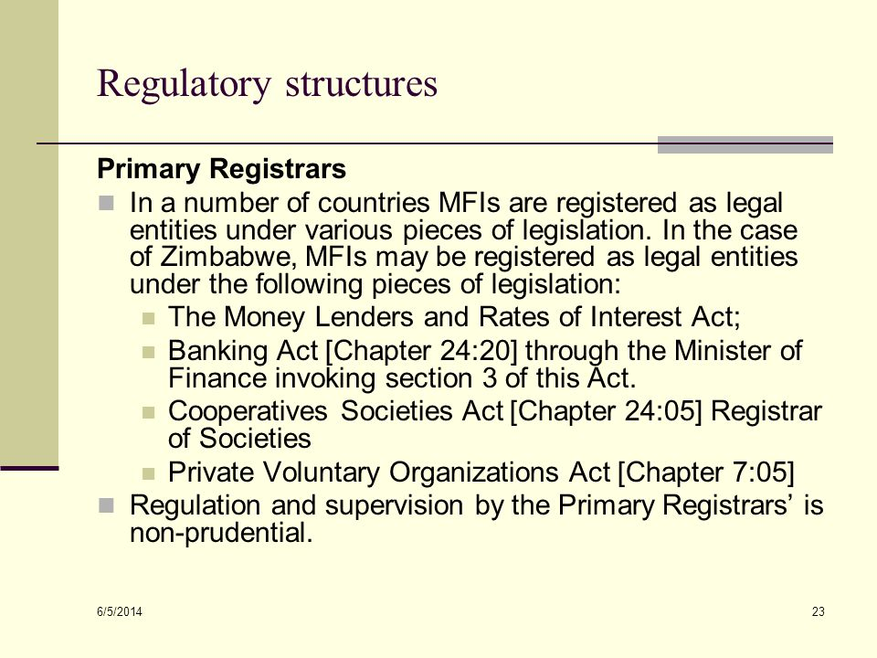 Regulatory structures