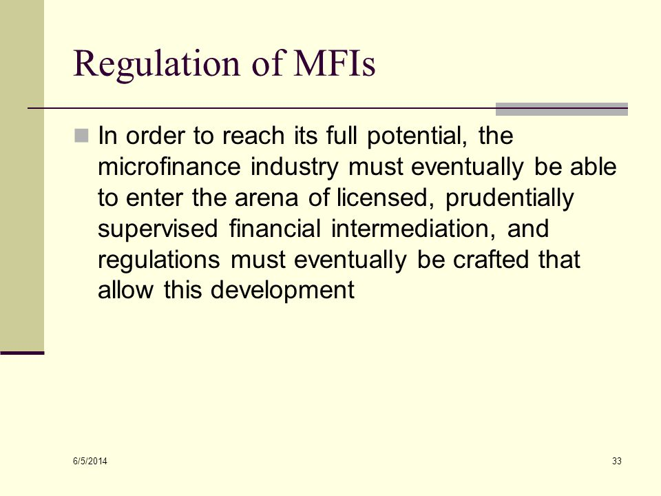 Regulation of MFIs