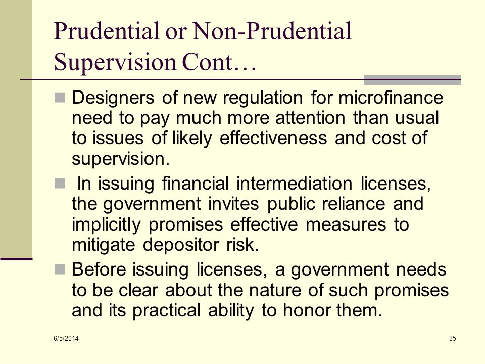 Prudential or Non-Prudential Supervision Cont…
