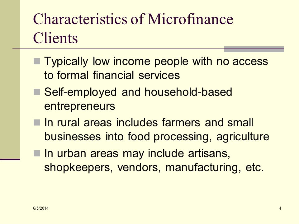 Characteristics of Microfinance Clients