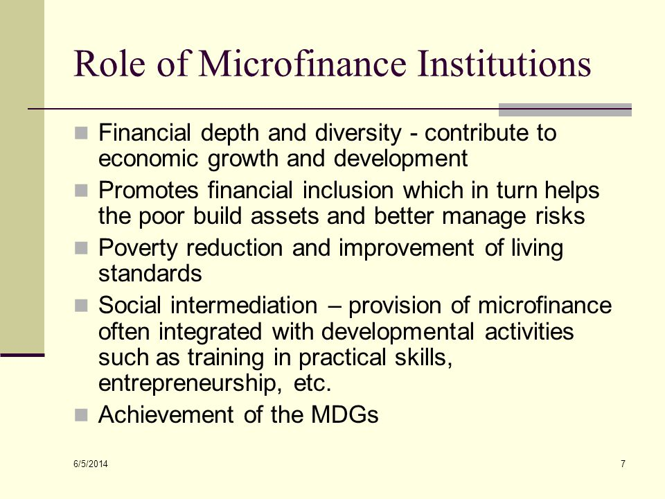 Role of Microfinance Institutions
