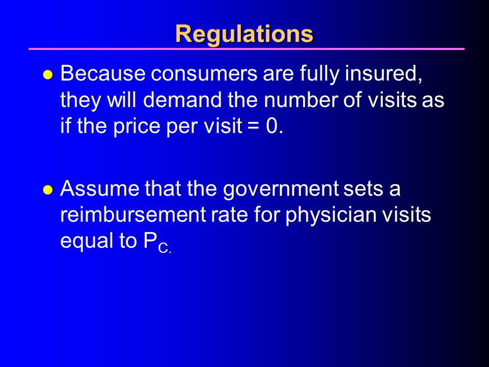 4/1/2017 Regulations. Because consumers are fully insured, they will demand the number of visits as if the price per visit = 0.