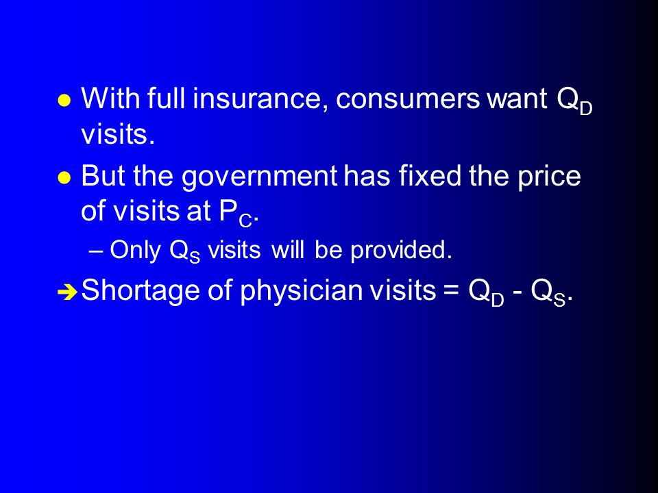 With full insurance, consumers want QD visits.