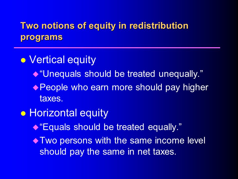 Two notions of equity in redistribution programs