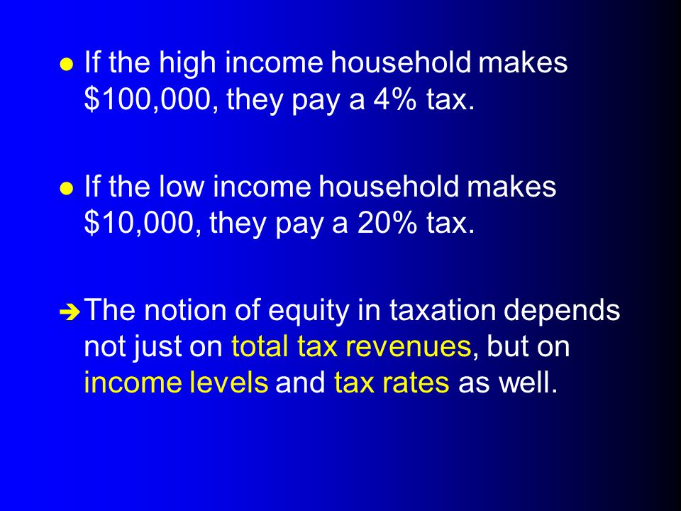 If the high income household makes $100,000, they pay a 4% tax.