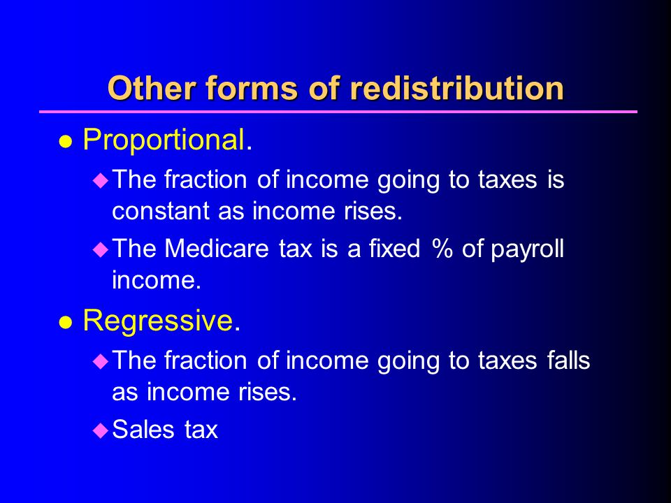 Other forms of redistribution