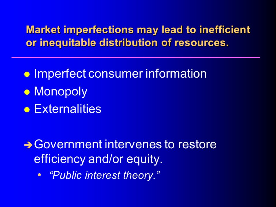 Imperfect consumer information Monopoly Externalities