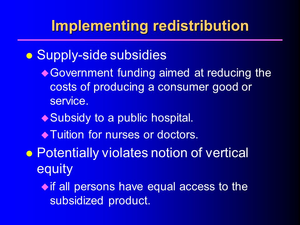 Implementing redistribution