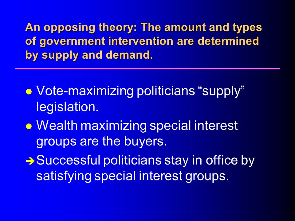 Vote-maximizing politicians supply legislation.
