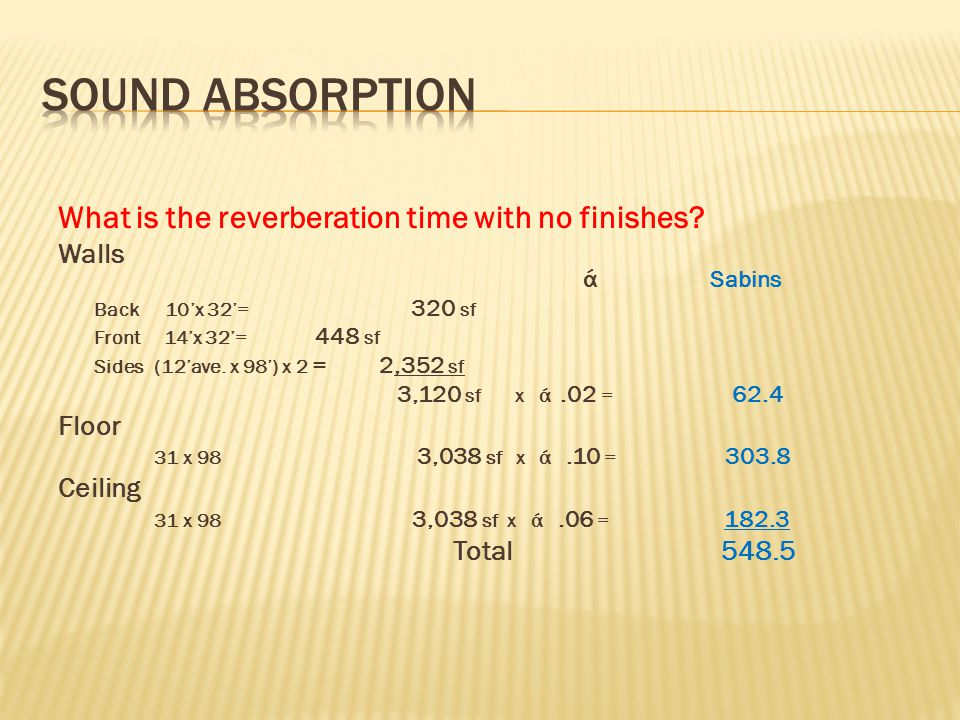 Sound Absorption What is the reverberation time with no finishes