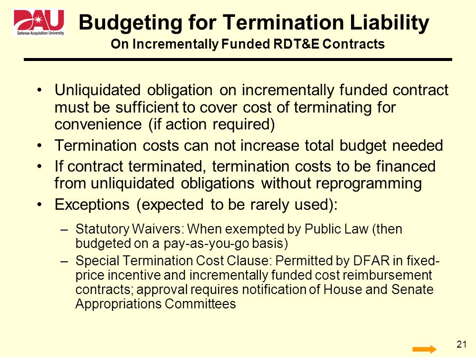 Budgeting for Termination Liability