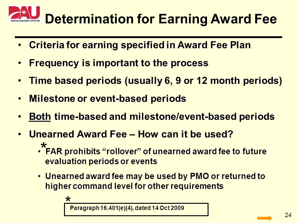 Determination for Earning Award Fee