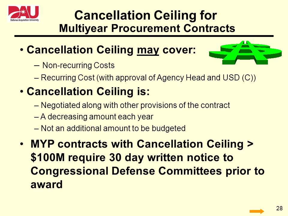 Cancellation Ceiling for Multiyear Procurement Contracts