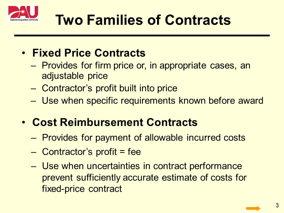 Two Families of Contracts