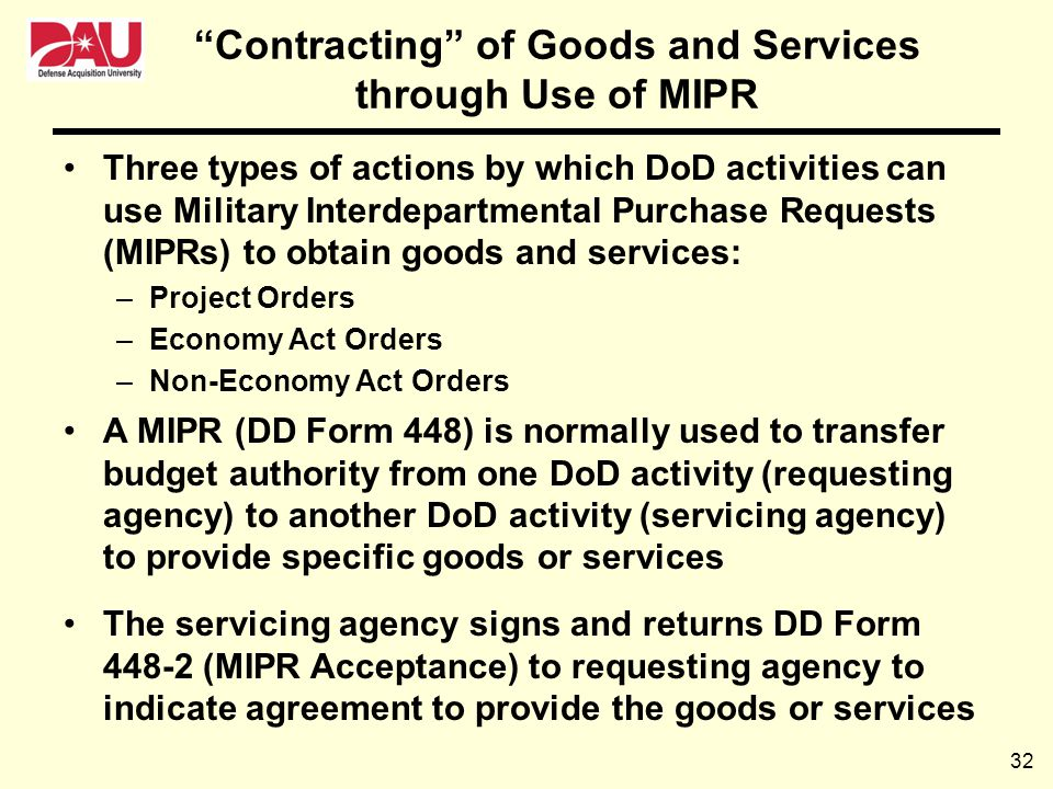 Contracting of Goods and Services through Use of MIPR