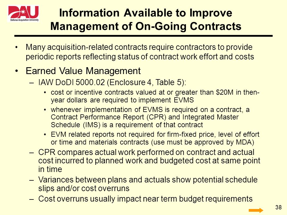 Information Available to Improve Management of On-Going Contracts