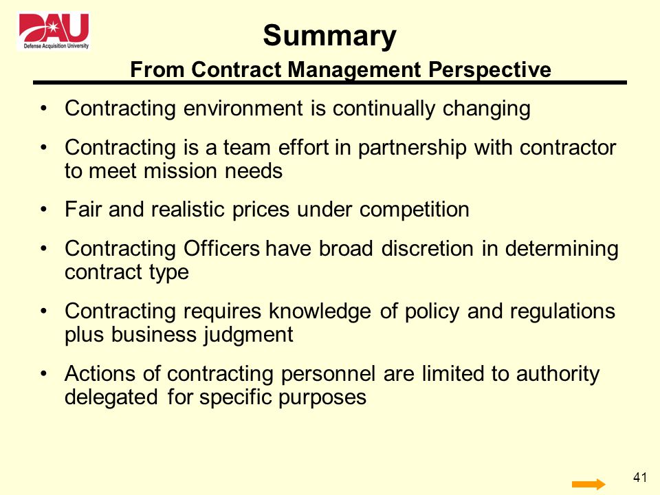 From Contract Management Perspective