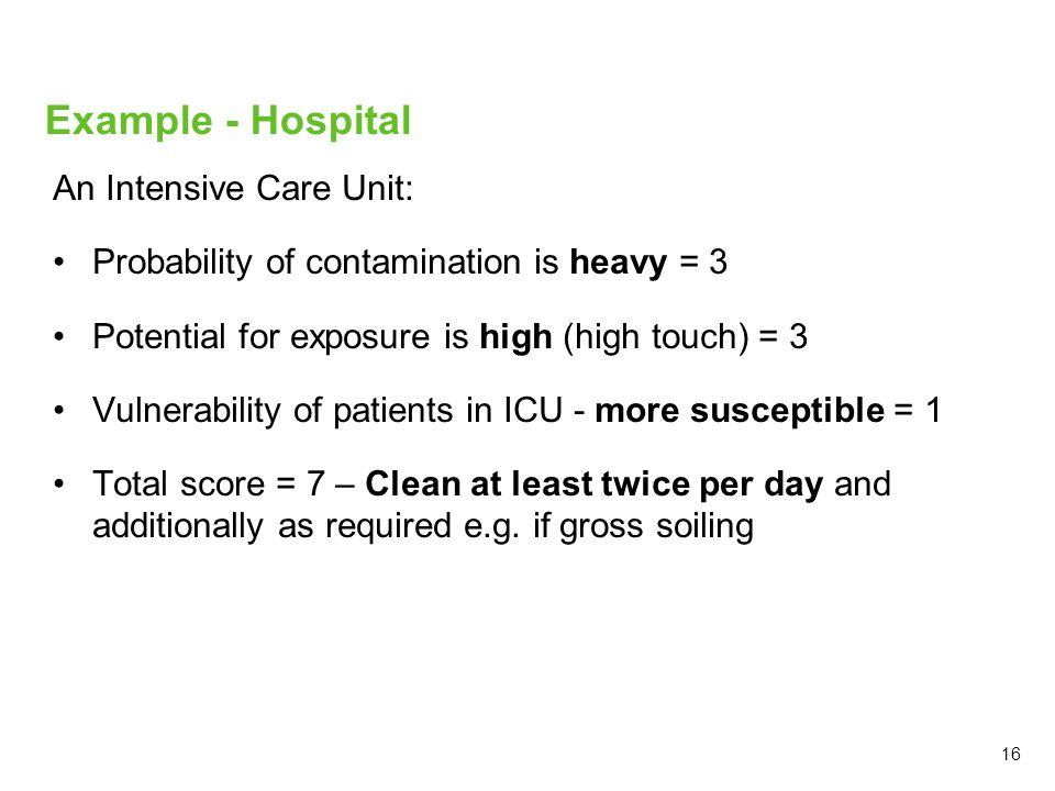 An Intensive Care Unit: Probability of contamination is heavy = 3