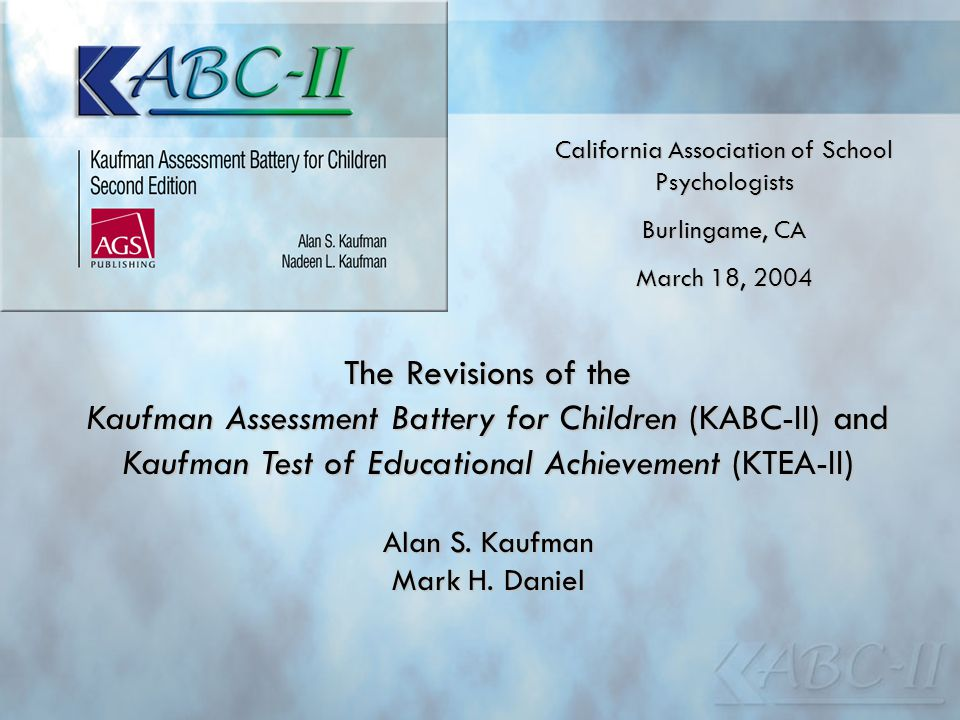 Kaufman Assessment Battery for Children (KABC-II) and