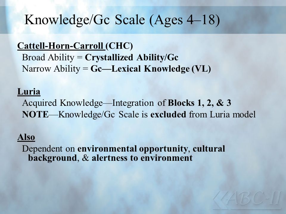 Knowledge/Gc Scale (Ages 4–18)