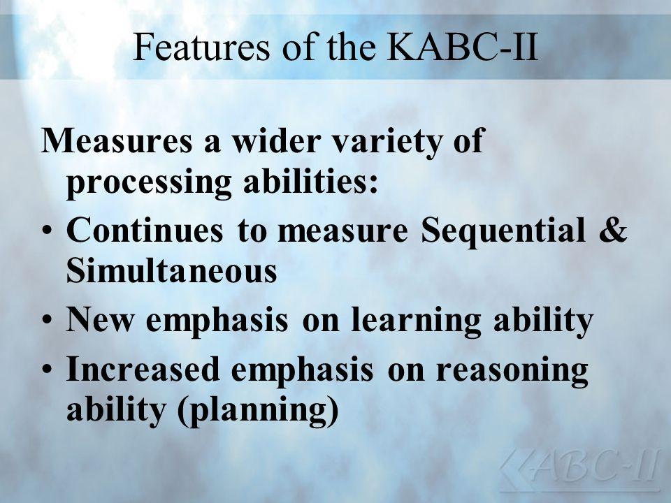 Features of the KABC-II