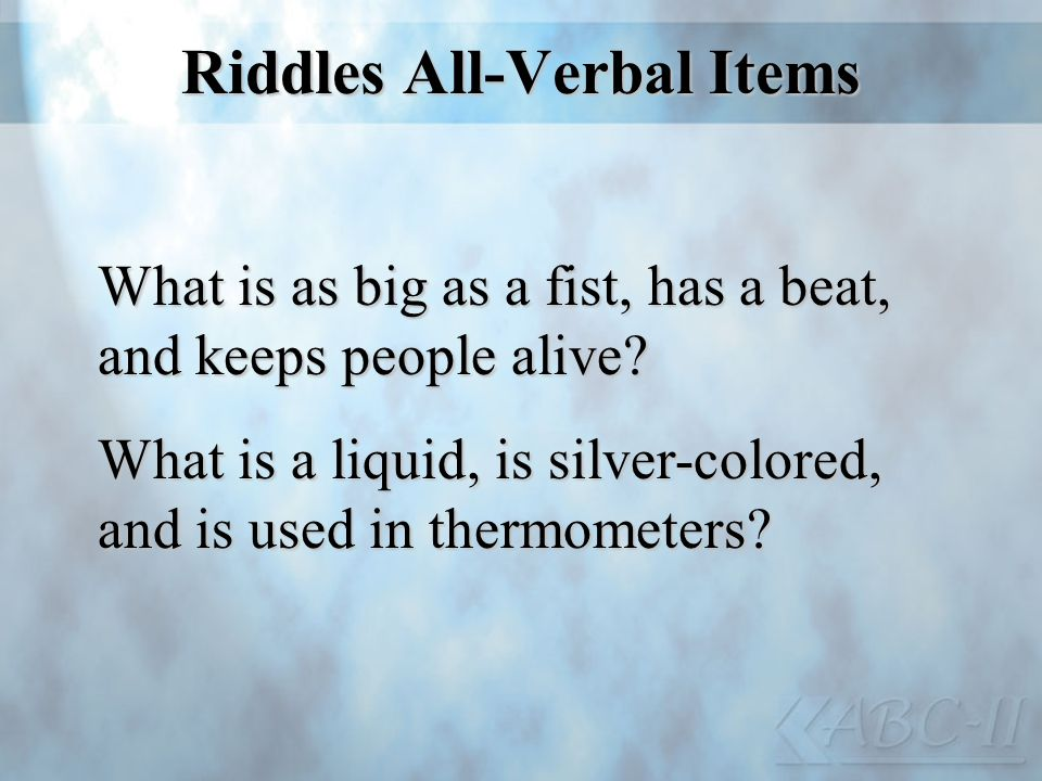 Riddles All-Verbal Items