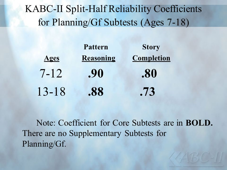 KABC-II Split-Half Reliability Coefficients for Planning/Gf Subtests (Ages 7-18)