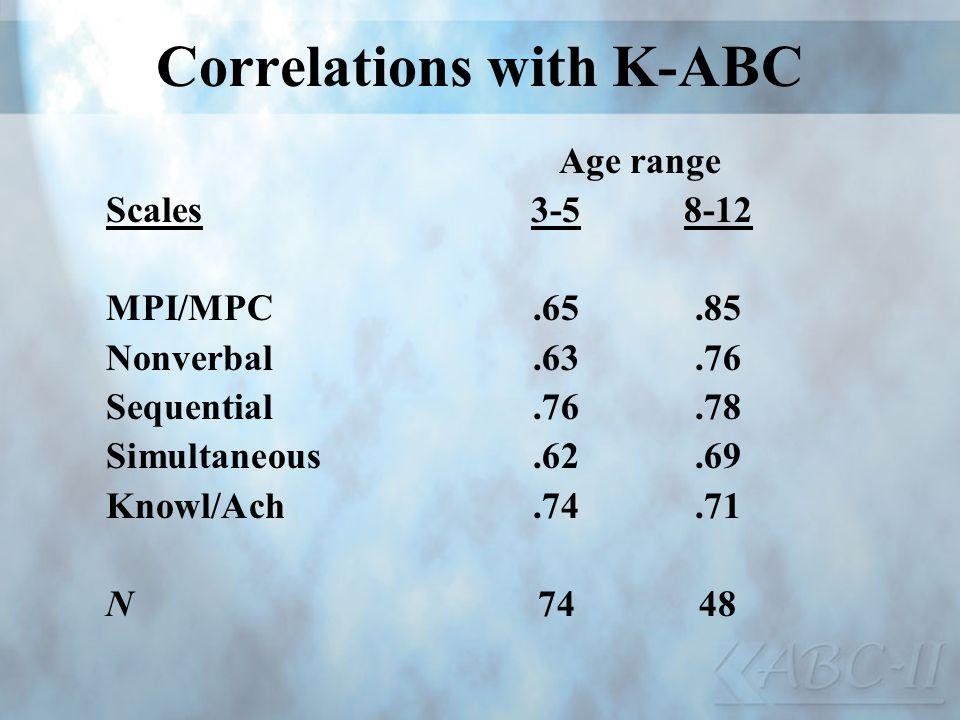 Correlations with K-ABC